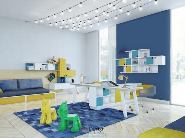 Phòng cho trẻ em với nội thất đầy màu sắc