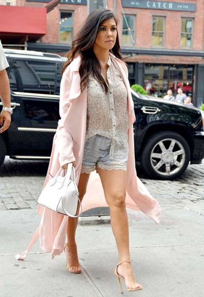 Pale-pink-Duster-coat-with-shorts