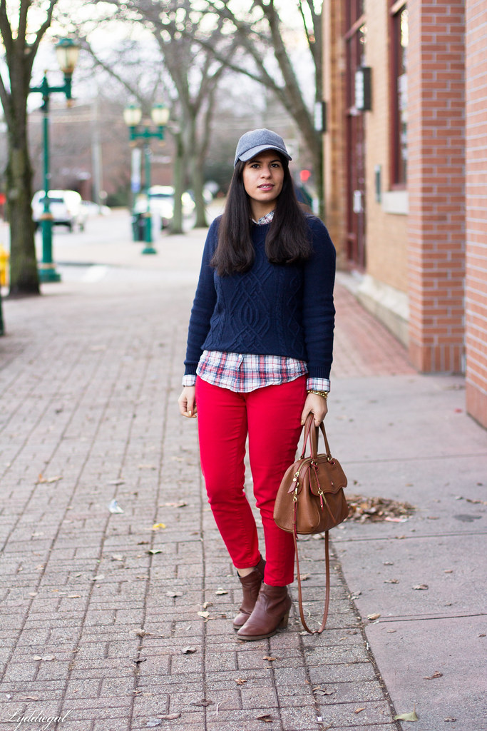 navy sweater, plaid shirt, red denim, ball cap.jpg