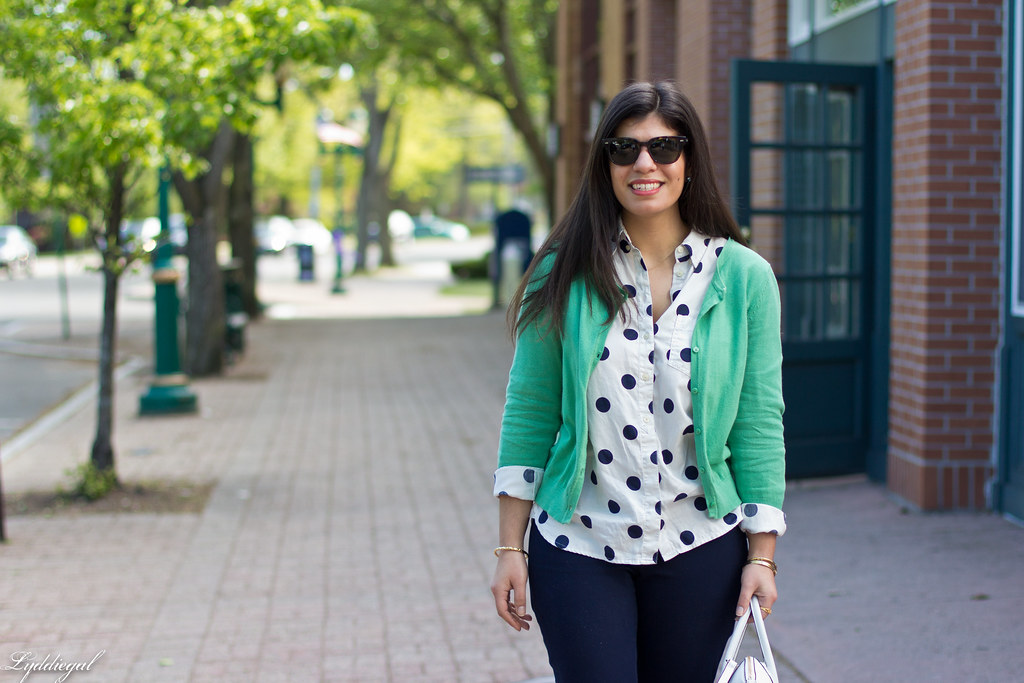 polka dot shirt, green cardigan, navy pants-6.jpg