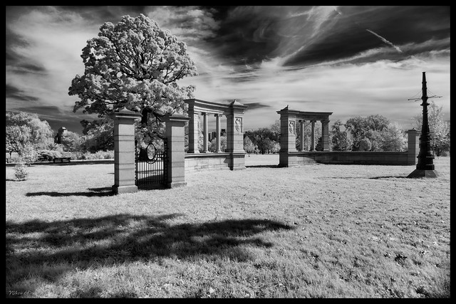 The Vandeventer Place Gates in Infrared - No. 2