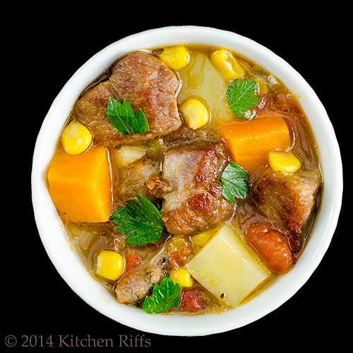Green Chile Stew with Pork in ramekin, overhead view