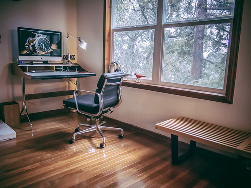 Updated to a MidCentury Modern Swag Office Set-up