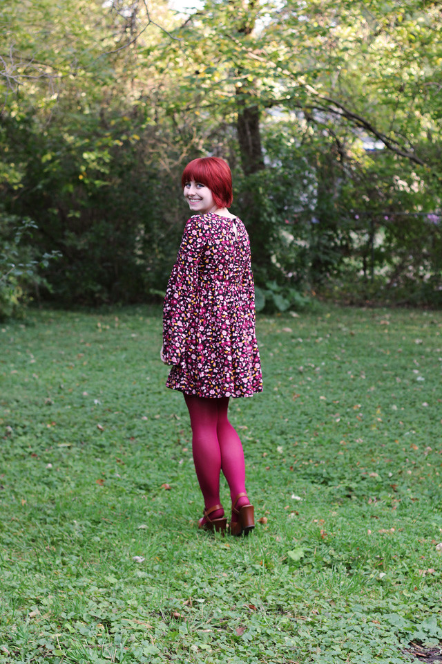 Retro Bell Sleeved Dress with Dark Pink Tights