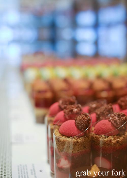 Explosive raspberry milk chocolate dessert at Burch & Purchese, South Yarra
