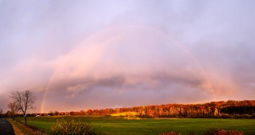 sunset shadow fall clouds rural rainbow horizon optics