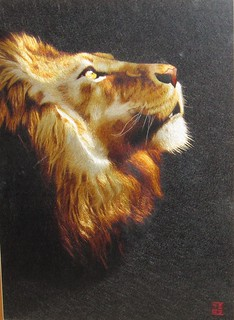 Lion - Chinese handmade silk embroidery art painting