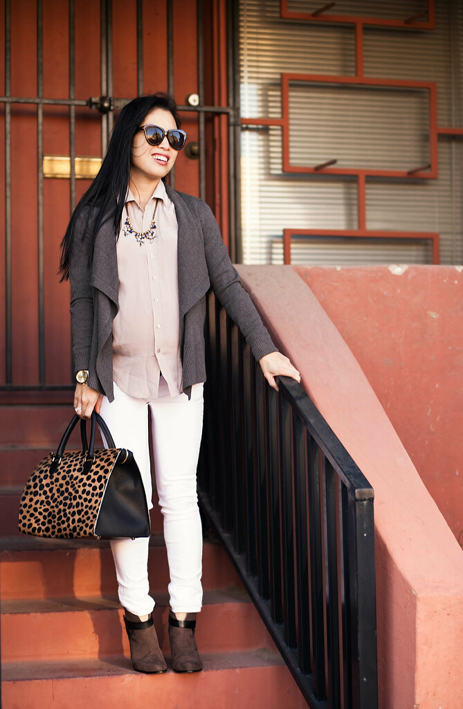 cute & little blog | petite fashion | maternity bumpstyle pregnancy | loft waterfall cardigan, blush everlane shirt, white skinny jeans, taupe suede booties, clare v leopard sandrine bag | fall casual outfit