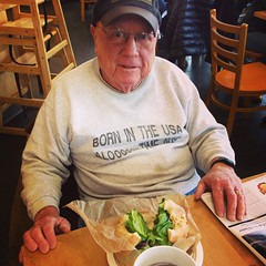 "His sweatshirt reads ""I was born in the USA a looooooong time ago"" and he knows a good bialy."