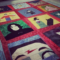 Basting old #ufo projects for me today! This is a #harrypotter quilt from multiple block swaps in 2007-2008. @jennifleur13 and @machine_gun_anna, about time right?