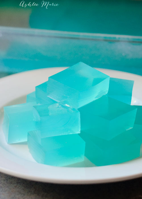 these from scratch jigglers make great Kristoff ice cubes for Frozen birthday party foods
