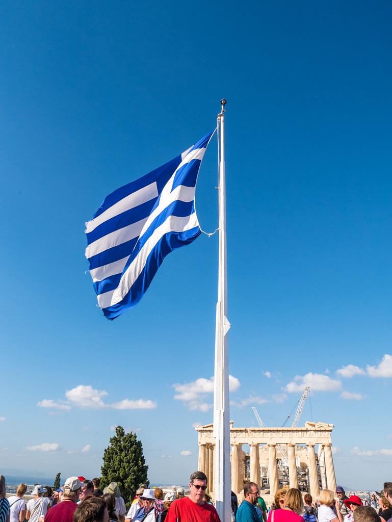 Greek flag at The Acropolis