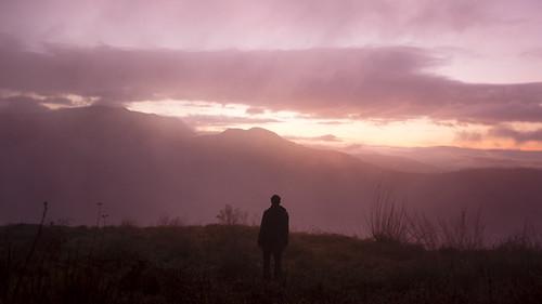 pink sunset alps silhouette rose fog alpes french haze brouillard brume chambotte
