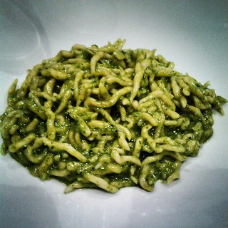 pasta with pesto I TRE MERLI Porto Antico genoa italy mosaka williamson 2014 socially superlative