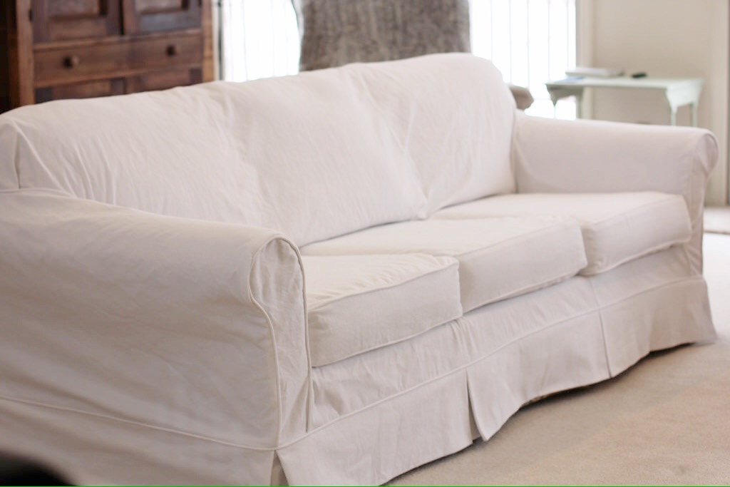 Twin Fibers White Couch Slipcover