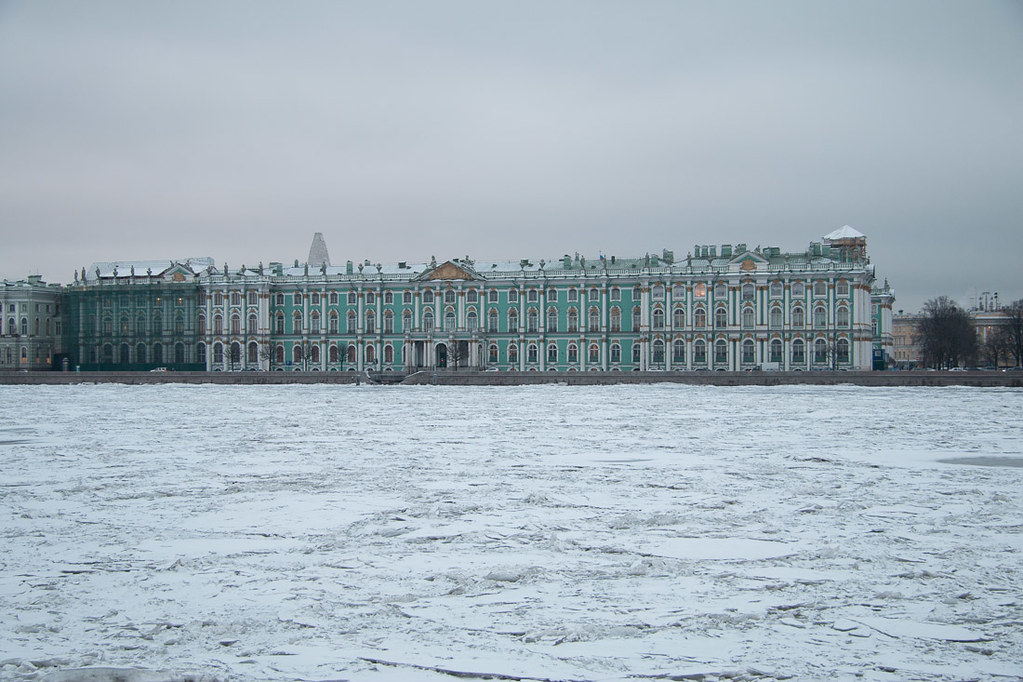 Hermitage museum in St. Petersburg, as seen from across the Neva River