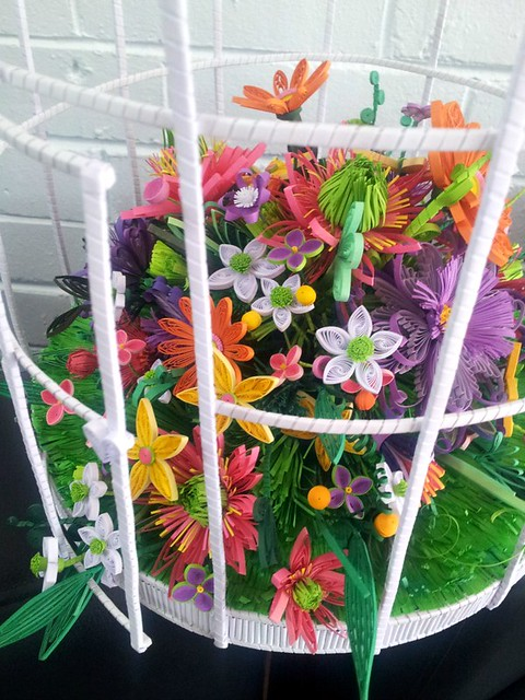 Quilled Flowers in Bird Cage