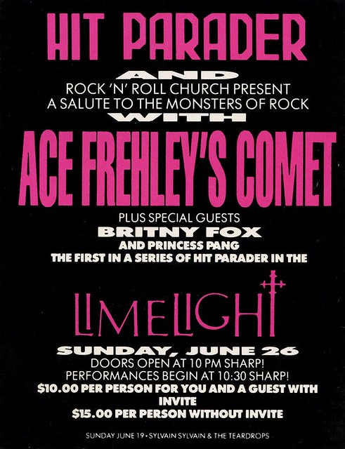 06/26/87 Ace Frehley's Comet/ Britny Fox @ The Limelight, NYC, NY