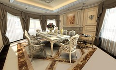 posh rich luxury mansion life style at vandelo with dining table and very fine table ornate decorations