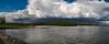 Panorama of land of dikes, mills and rivers Varik