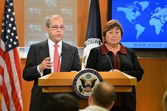 Assistant Secretary of State for East Asian and Pacific Affairs Daniel Russel and Under Secretary of State for Economic Growth, Energy, and the Environment Catherine Novelli preview the U.S.-China Strategic and Economic Dialogue at the top of the Daily Press Briefing at the U.S. Department of State in Washington, D.C., on May 31, 2016. [State Department photo/ Public Domain]