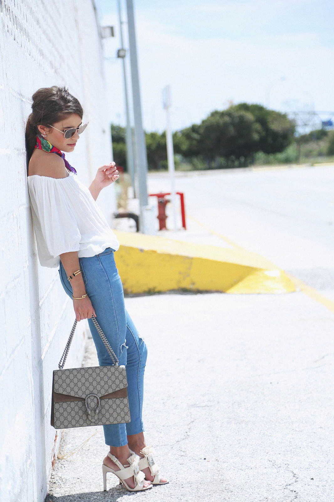 jessie chanes seams for a desire white off shoulder top high waisted jeans gucci bag uterque-10