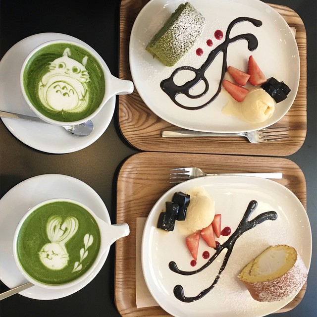 Matcha Lattes & Cake Rolls at Ogawa Coffee