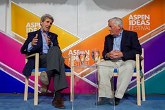 U.S. Secretary of State John Kerry sits with Aspen Institute President and Chief Executive Officer Walter Isaacson for a question-and-answer question session after addressing attendees at the Aspen Ideas Festival on June 28, 2016, at the Greenwald Pavilion at the Aspen Meadows Resort in Aspen, Colorado. [State Department photo/ Public Domain]