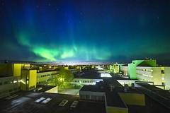 Auroras over University of Oulu