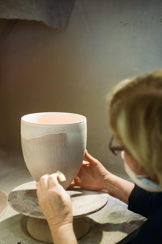 Cearmic artist Pippin Drysdale in her studio in Perth, Australia