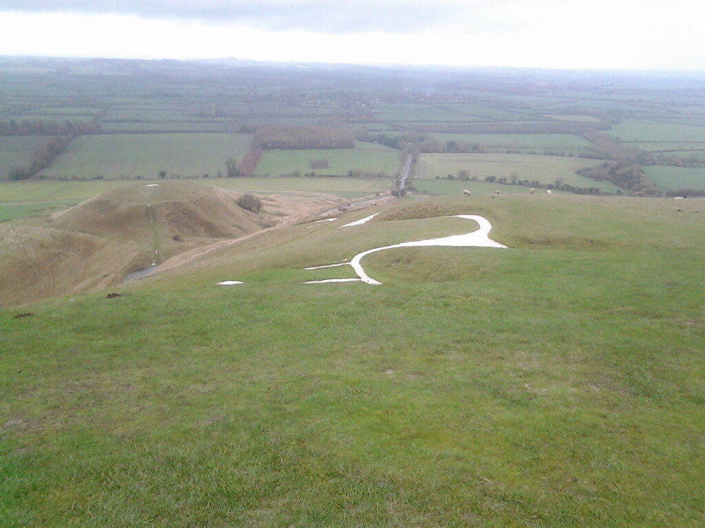 White horse Uffington and dragon hill