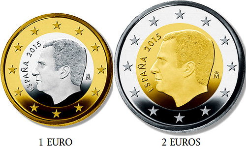 Spain One and Two Euro Coins