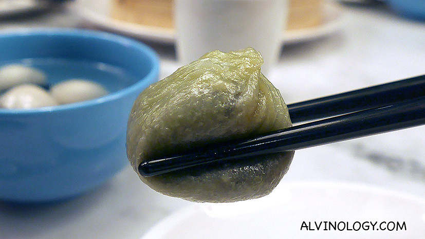 Green Tea Red Bean Steamed Dumplings( 绿茶豆沙小笼包) ($4.50++ for 4 pieces)