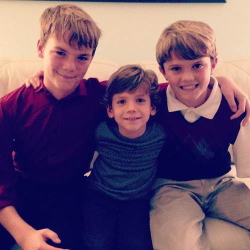 Finn and his older cousins celebrate Christmas Eve