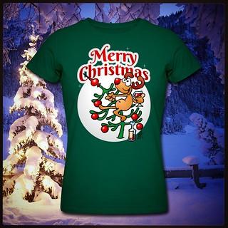 Merry Christmas T-Shirt. #Christmas #Xmas #Kerstmis #Kerst #Reindeer #Rendier #Christmastree #Kerstboom #Spreadshirt #Zazzle  #Redbubble #Society6 #Skreened #Tshirt  #Tshirtdesign  #Tekenaartje  #Cardvibes  #drawing  #tekening