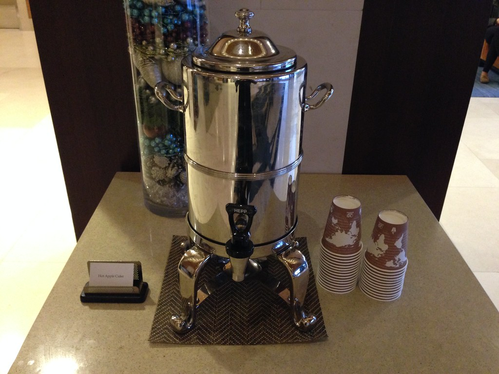 Hot Apple Cider in the lobby