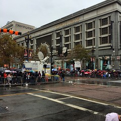 Big crowds for the San Francisco Giants World Series parade - it's raining a bit
