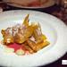 Seventh course: Bay scallops, silverberry, uni purée, maitake mushroom chips