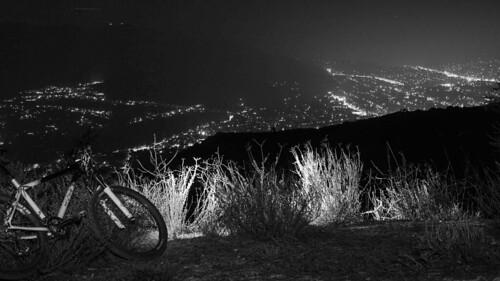 After Dark #MTB ride  #mountainbiking #night #citylights #blackandwhite #cityscape #bikeLA
