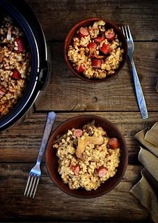 pearl barley with sausages