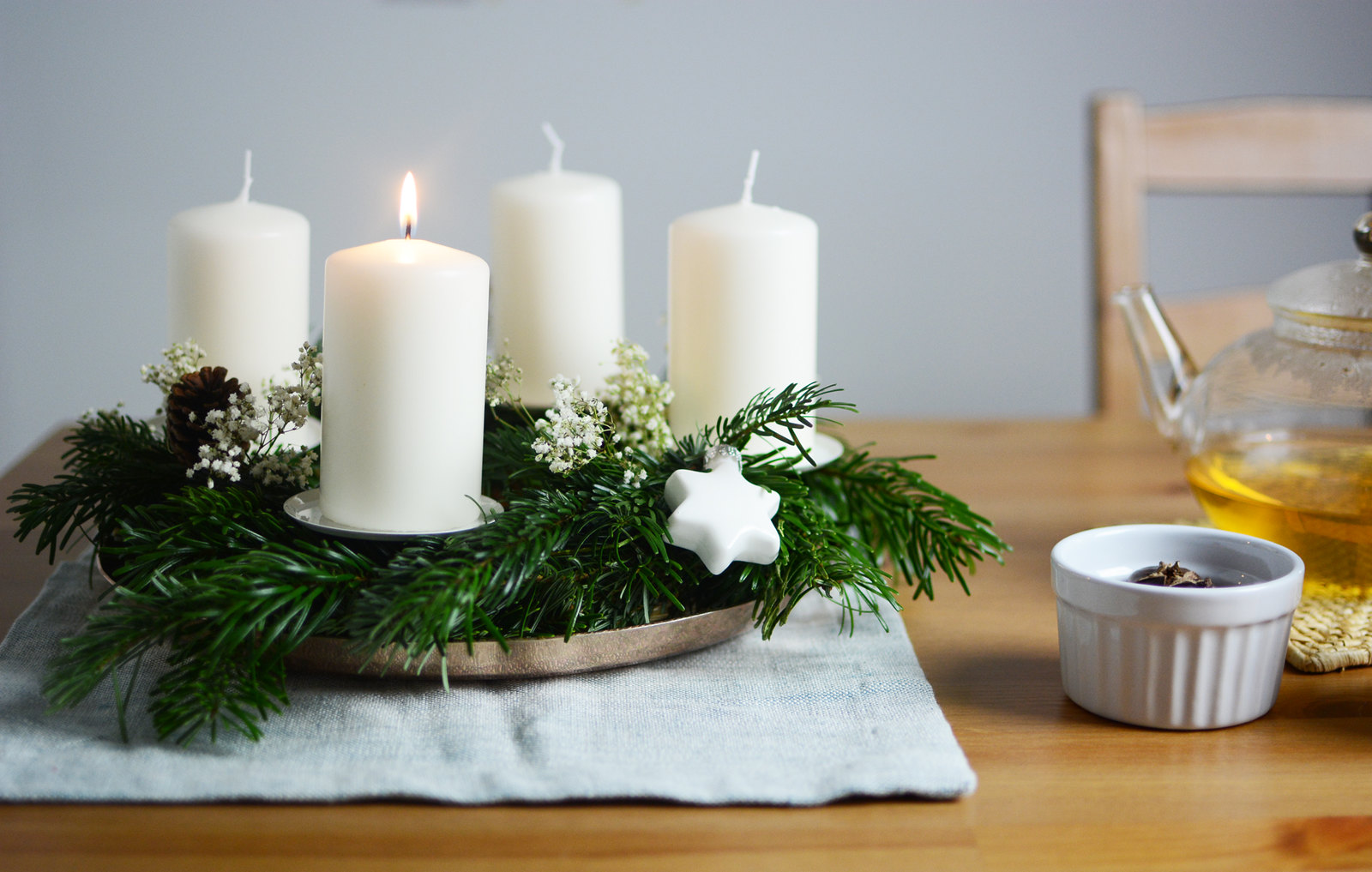 diy skandinavischer adventskranz pixi mit milch. Black Bedroom Furniture Sets. Home Design Ideas