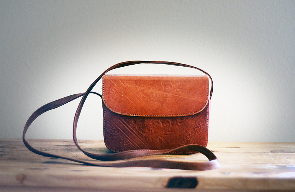 Small Vintage Tooled Leather Bag