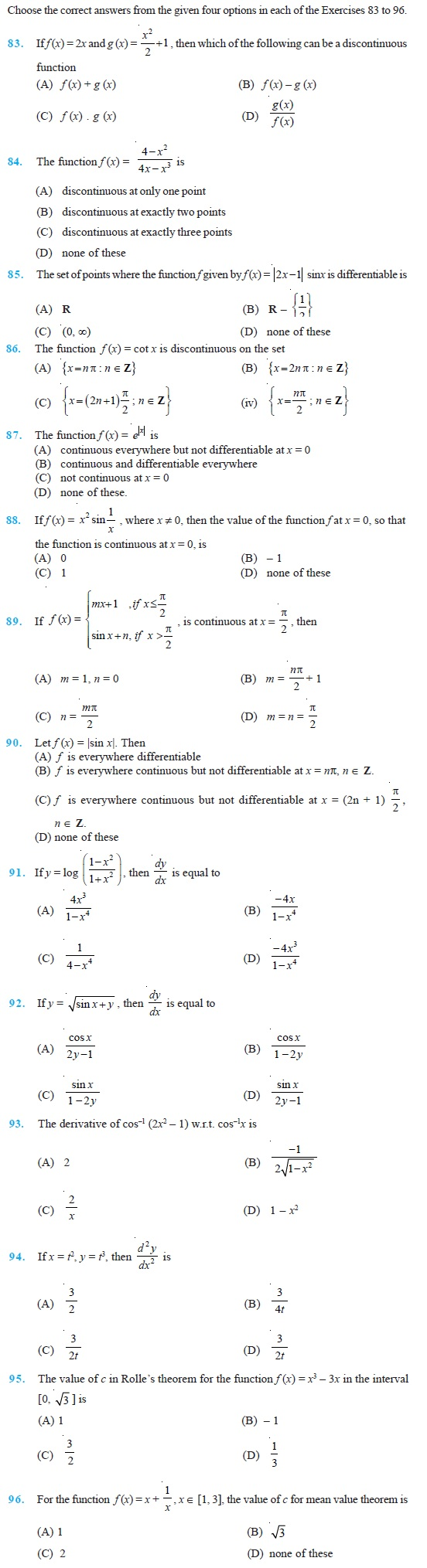 Class 12 Important Questions for Maths -Continuity and Differentiability