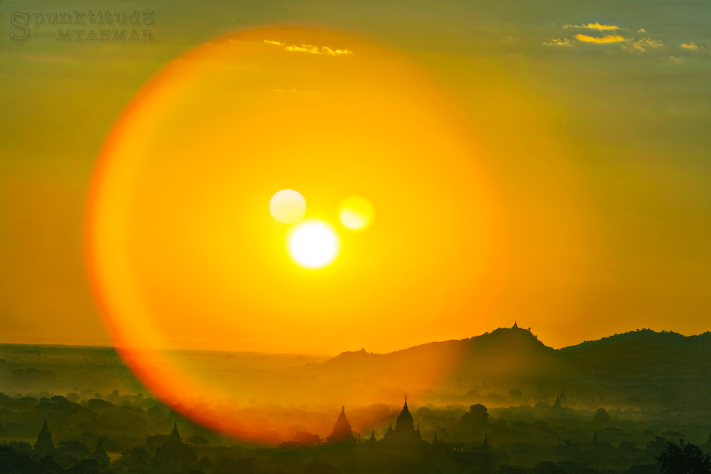 A Mickey Mouse Sunrise from Shwe San Daw Pagoda, Myanmar