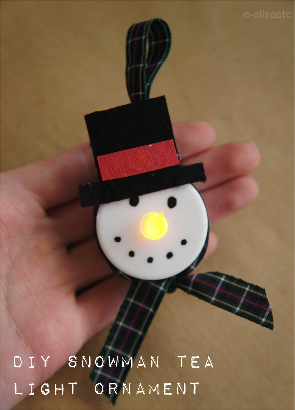 diy snowman tea light ornament