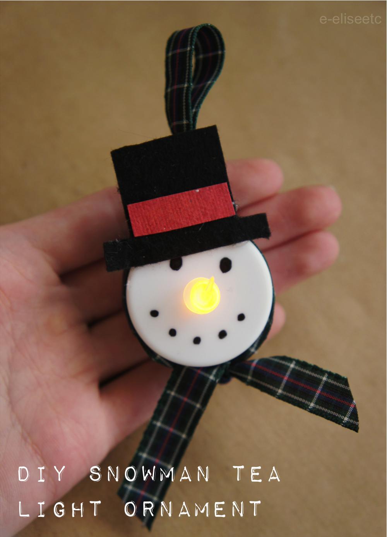 diy snowman tea light ornament