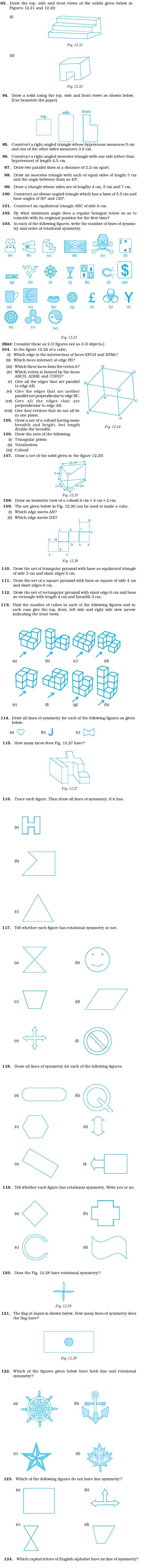 Class 7 Important Questions for Maths – Practical Geometry, Symmetry and Visualising Solid Shapes