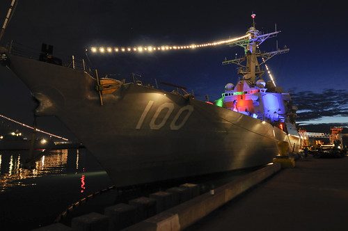 SAN DIEGO - The guided-missile destroyer USS Kidd (DDG 100) displays its lights during Naval Base San Diego's third annual Holiday Lights Open House.