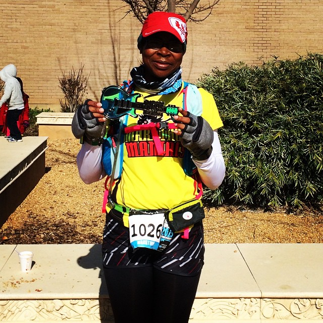 I'm done! Watch says 5:15:01 and I hope that's true. This was a difficult marathon course! #mississippiblues #marathonmaniacs #teamchocolatemilk #nuunlove #fitfluential #noexcuses