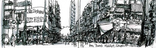 sketch vietnam saigon inkwash peterandrews